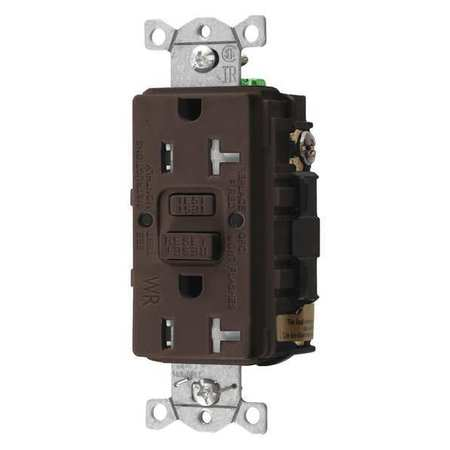 GFCI Receptacle 20A 125VAC 5 20R Brown Model GFTWRST20 by USA Hubbell Kellems Electrical GFCI Receptacles
