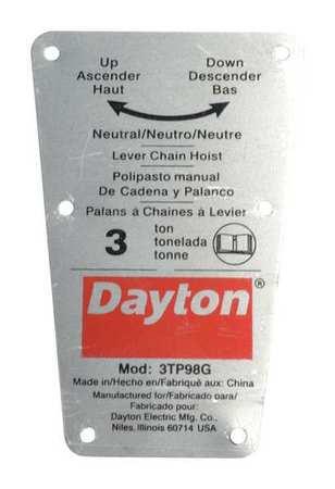 Dayton Capacity Label Type 71317721G