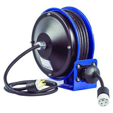 Cord Reel 30 ft 16/3 SJO Blue 120VAC by USA Coxreels Extension Cord Reels