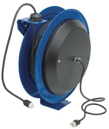 Cord Reel 75 ft 16/3 SJO Blue 120VAC by USA Coxreels Extension Cord Reels