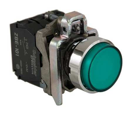 Illuminated Push Button 22mm Green Model XB4BW13G5 by USA Schneider Electrical Pushbutton Complete Units