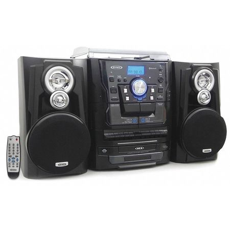 Bluetooth 3-Speed Stereo Turntable 3 Cd Changer Music System with Dual Cassette Deck and Remote Control -  Jensen, JMC-1250