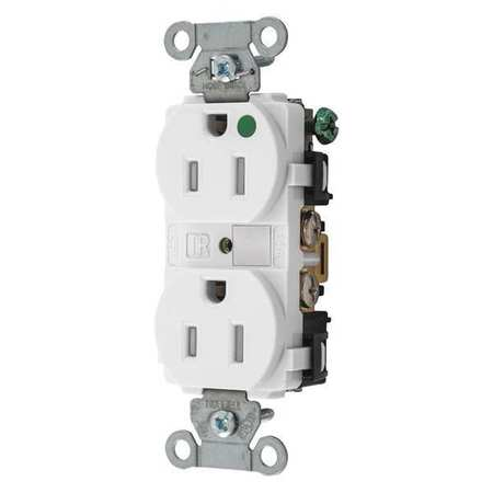 15A Duplex Receptacle 125VAC 5 15R WH Model 8200WTRA by USA Hubbell Kellems Electrical Straight Blade Receptacles