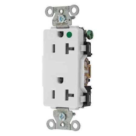 20A Duplex Decorator Receptacle 125VAC 5 20R WH Model 2182W by USA Hubbell Kellems Electrical Straight Blade Receptacles