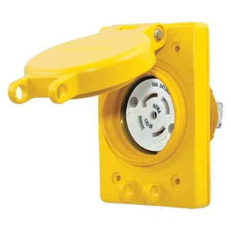 30A Watertight Locking Receptacle 4P 5W 347/600VAC by USA Hubbell Kellems Electrical Locking Receptacles