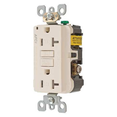 20A Duplex Receptacle 125VAC 5 20R Almond Model AFR20TRLA by USA Hubbell Kellems Electrical Straight Blade Receptacles