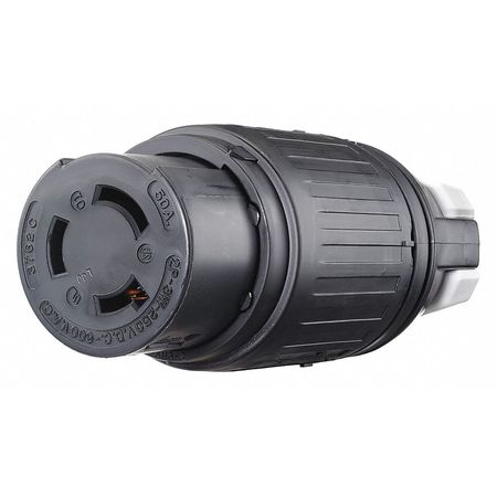 50A Locking Connector 2P 3W 600VAC/250VDC BK by USA Bryant Electrical Locking Connectors