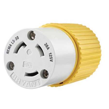 30A Locking Connector 2P 3W 125VAC L5 30R YL/WT by USA Bryant Electrical Locking Connectors