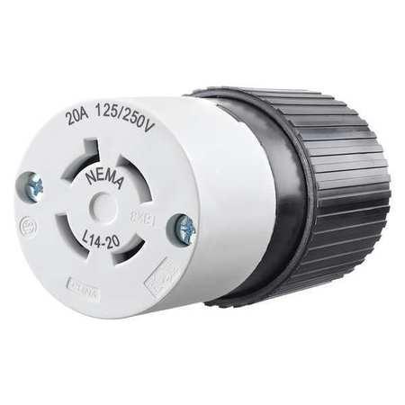 20A Locking Connector 3P 4W 125/250VAC L14 20R BK/WT by USA Bryant Electrical Locking Connectors