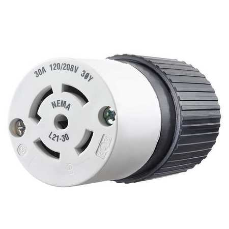 30A Locking Connector 4P 5W 120/208VAC L21 30R BK/WT Model 72130NC by USA Bryant Electrical Locking Connectors