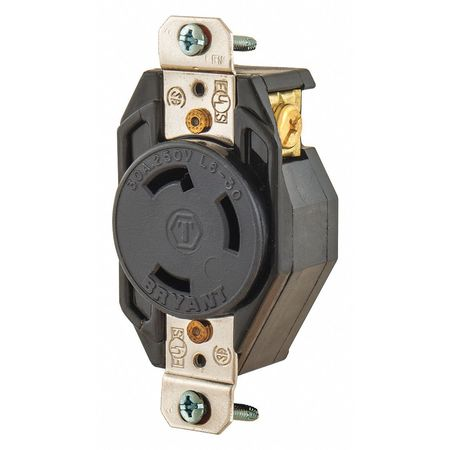30A Locking Receptacle 2P 3W 250VAC L6 30R BK by USA Bryant Electrical Locking Receptacles