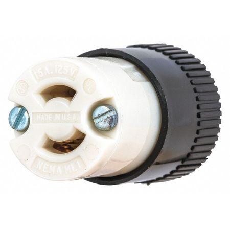 15A Midget Locking Connector 2P 2W 125VAC ML 1R BK/WT by USA Bryant Electrical Locking Connectors