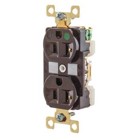 20A Duplex Receptacle 125VAC 5 20R BN Model BRY8300 by USA Bryant Electrical Straight Blade Receptacles