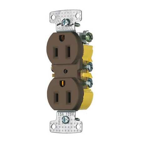 15A Duplex Receptacle 125VAC 5 15R BN Model RR15S by USA Bryant Electrical Straight Blade Receptacles