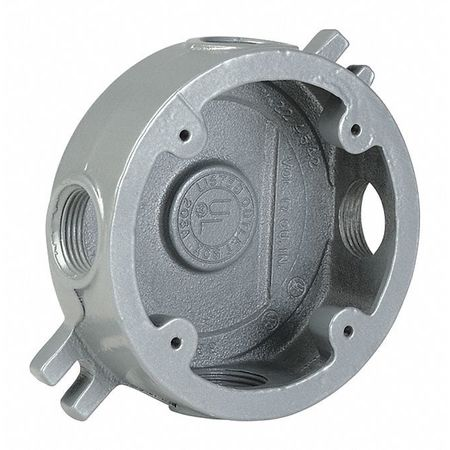 """Round Outlet Box Shallow 1/2"""" Hub Iron by USA Hubbell Killark Electrical Weatherproof Boxes"""