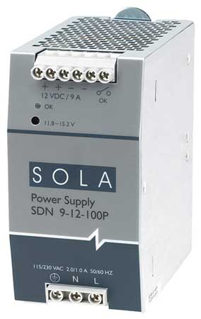 DC Power Supply 12VDC 9A 60Hz by USA Sola Hevi Duty Electrical AC DC Power Supplies