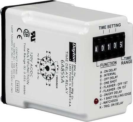 Time Delay Relay 12VDC 10A DPDT by USA Dayton Electrical Time Delay Relays