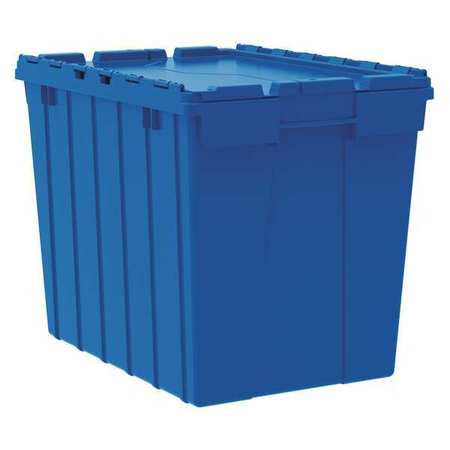 Attached Lid Container,2.28 Cu Ft,blue