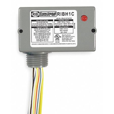 Enclosed Pre Wired Relay 10A@277VAC SPDT Model RIBH1C by USA Functional Devices Electrical Specialty Relays