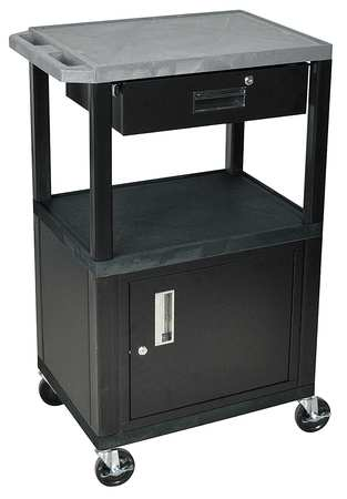 Value Brand Audio-Visual Cart 200 lb. Gray 24 In. L Type GWTGY42C2/WTD