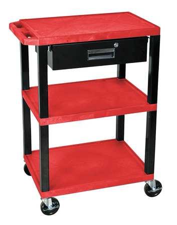 Value Brand Utility Cart 300 lb. Cap. Resin 2 Shlvs Type WT34RS-B/WTD