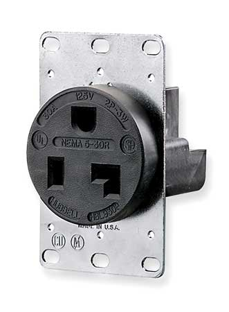 30A Single Receptacle 125VAC 5 30R BK Model 5371 by USA Leviton Electrical Straight Blade Receptacles