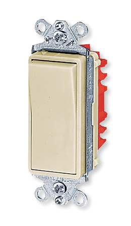 Wall Swtch 1 Pol 120/277V 20A Ivry Rockr by USA Hubbell Kellems Electrical Wall Switches