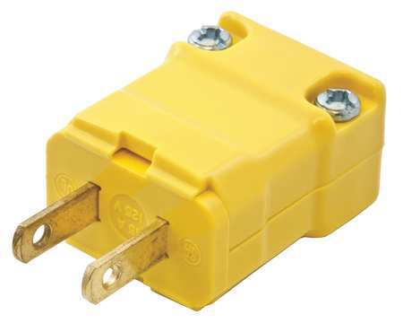 2 Wire Industrial Straight Blade Plug 125VAC 15A Model HBL5865VY by USA Hubbell Kellems Electrical Straight Blade Plugs