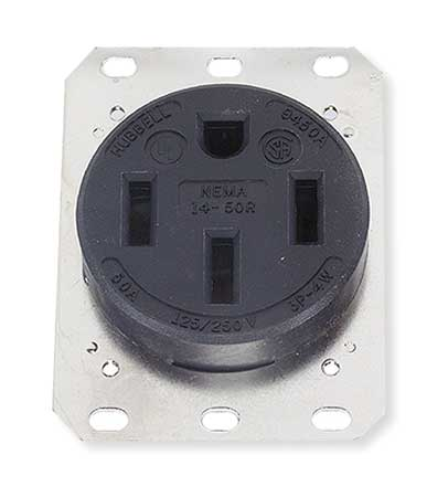 50A 4W Single Receptacle 125/250VAC 14 50R BK Model HBL9450A by USA Hubbell Kellems Electrical Straight Blade Receptacles