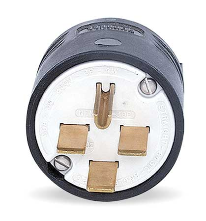 4 Wire Industrial Straight Blade Plug 250VAC 30A by USA Hubbell Kellems Electrical Straight Blade Plugs