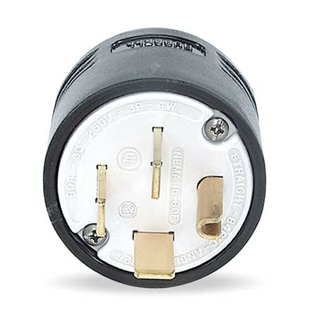 4 Wire Industrial Straight Blade Plug 250VAC 60A by USA Hubbell Kellems Electrical Straight Blade Plugs