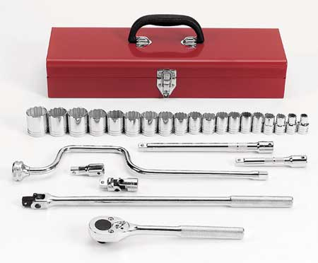 Proto Socket Wrench Set SAE 1/2 in. Dr 26 pc Type J54124