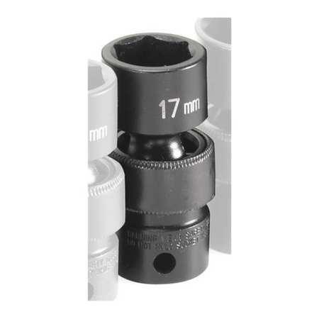 "Grey Pneumatic Socket 17mm 3/8""D Impact Univ 6pt."