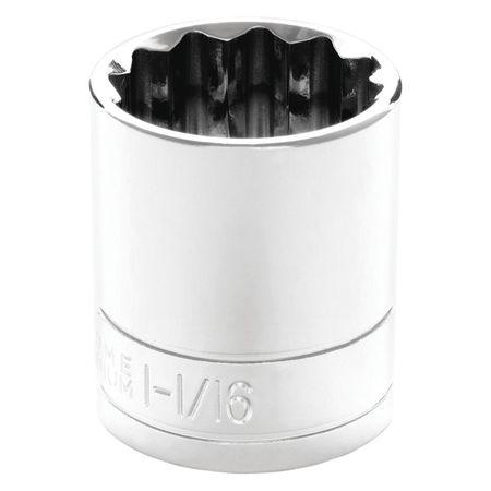 "Performance Tool Standard Socket 1/2"" D 12pt. 1 1/16"