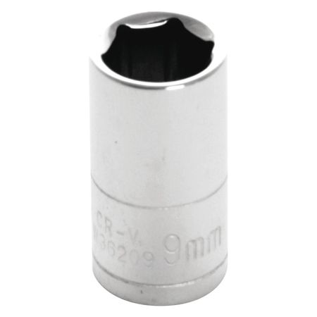"Performance Tool Standard Socket 1/4"" D 6pt. 9mm"