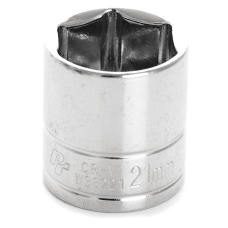"Performance Tool Standard Socket 3/8"" D 6pt. 21mm"