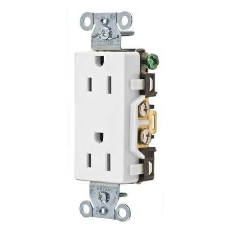 15A Decorator Receptacle 125VAC 5 15R WH Model DRS15WHI by USA Bryant Electrical Straight Blade Receptacles