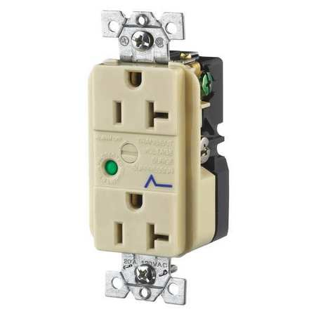 20A Decorator Receptacle 125VAC 5 20R IV Model SP53IA by USA Bryant Electrical Straight Blade Receptacles