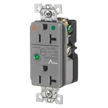 20A Decorator Receptacle 125VAC 5 20R GY Model SP83IGGYA by USA Bryant Electrical Straight Blade Receptacles