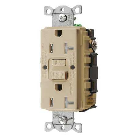 GFCI Receptacle Ivory 20A (3) Wires PK3 by USA Bryant Electrical GFCI Receptacles