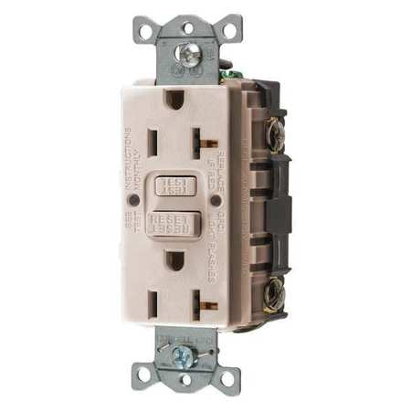 GFCI Receptacle Light Almond 125VAC PK3 by USA Bryant Electrical GFCI Receptacles