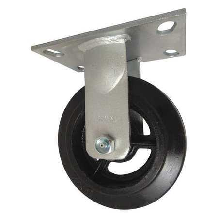 """RWM Plate Caster Rigid Rubber 6"""" 410 lb"""