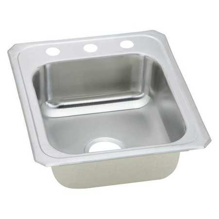 Sink Ss 1 Bowl 2 Faucet Hole,17x21in