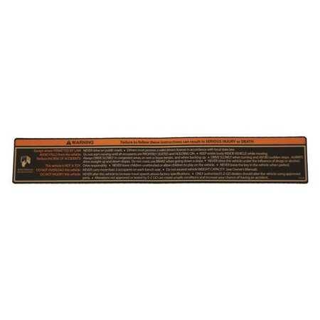 Cushman Instrument Panel Label