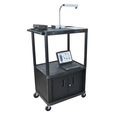 "Luxor Cart 3 Shelf w/Cabinet 54-1/4""H"