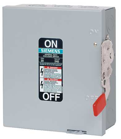 30 Amp 240VAC Single Throw Safety Switch 3P Model GF321N by USA Siemens Electrical Safety & Disconnect Switches