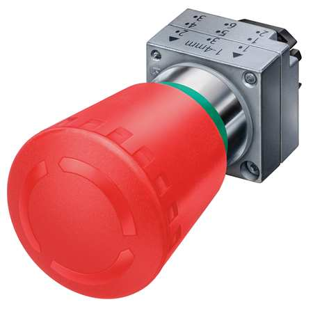 Push Button 22mm 1.57 In. Mushroom Red Model 3SB35001HA20 by USA Siemens Electrical Non Illuminated Pushbuttons