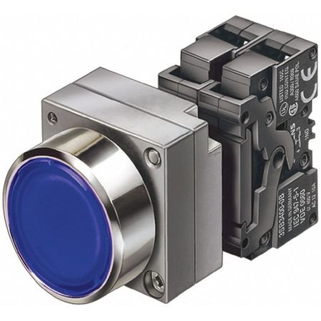 Illuminated Push Button 22mm Blue Model 3SB36470AA51 by USA Siemens Electrical Pushbutton Complete Units