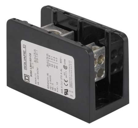 Pwr Dist Block 175A 1P Primary 600VAC Model 9080LBA162101 by USA Square D Electrical Wire Power Distribution Blocks