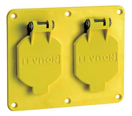 Weatherproof Cover Horizontal Yellow Model 3263W Y by USA Leviton Electrical Weatherproof Box Covers